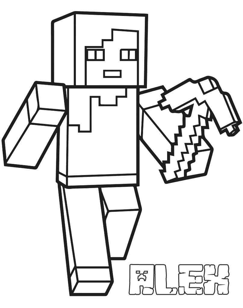 Alex Minecraft kolorowanka dla chłopców