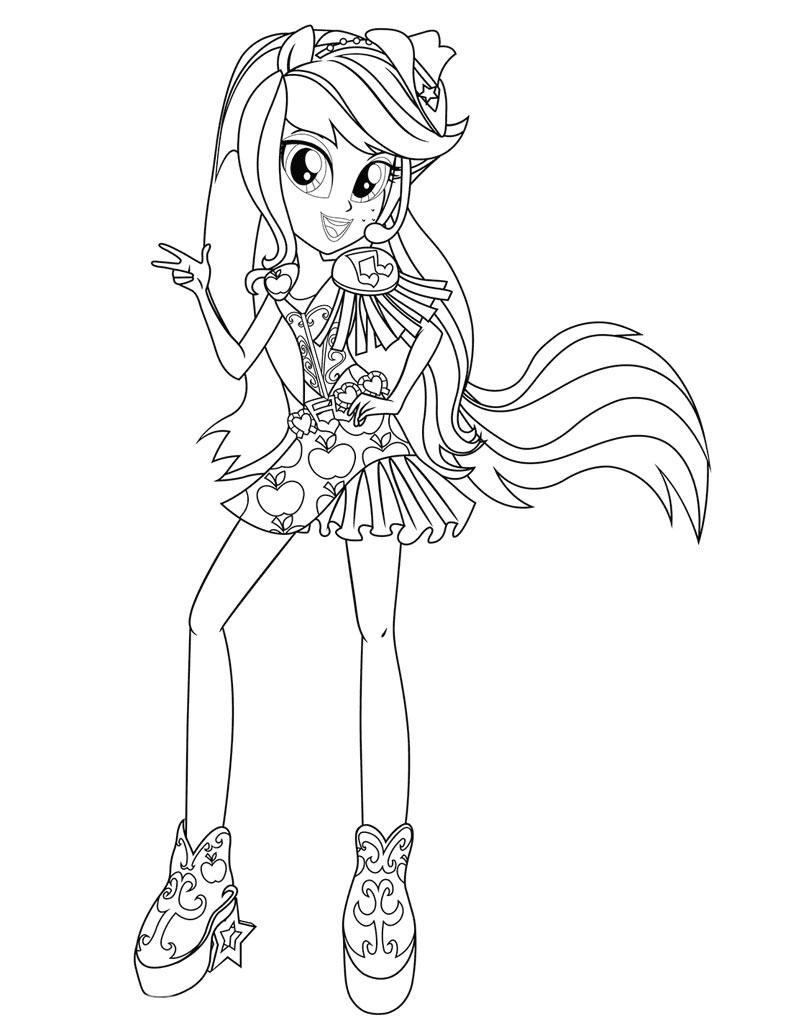 Applejack kolorowanka z dziewczynką My Little Pony