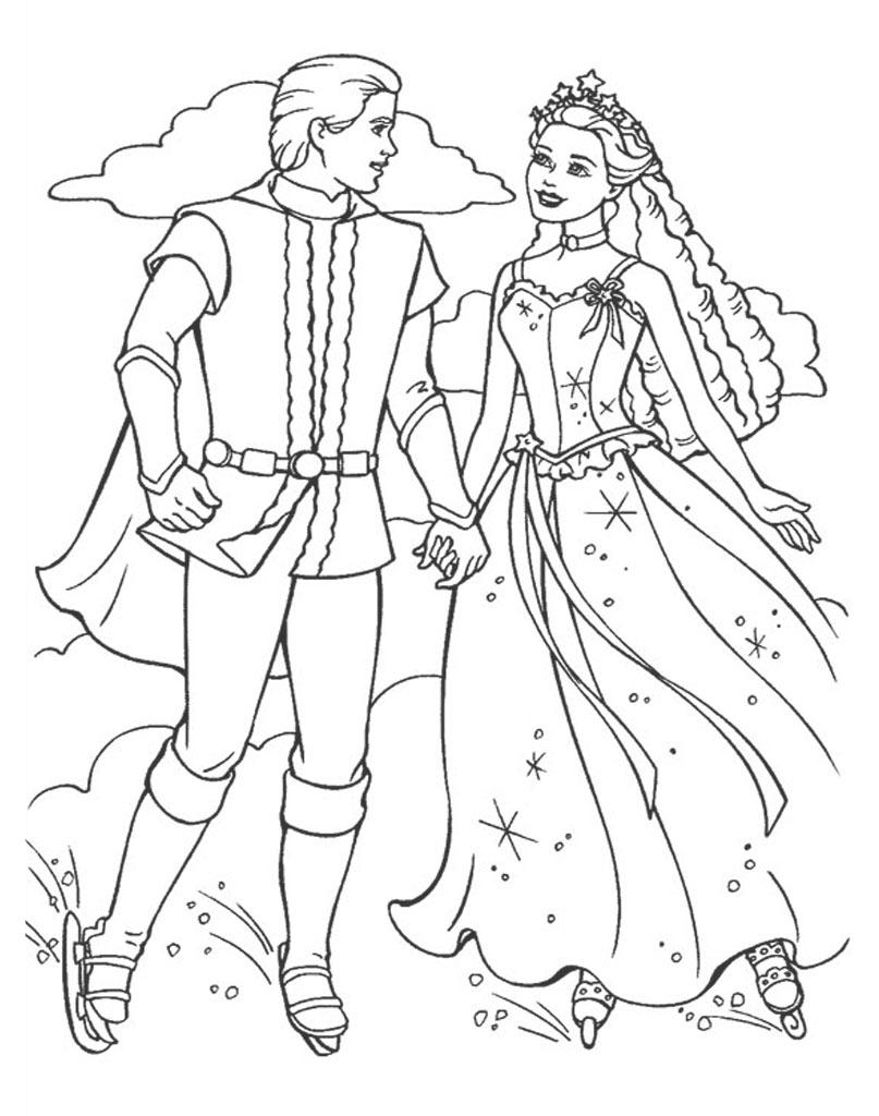 Barbie i Ken na łyżwach kolorowanka dla dzieci