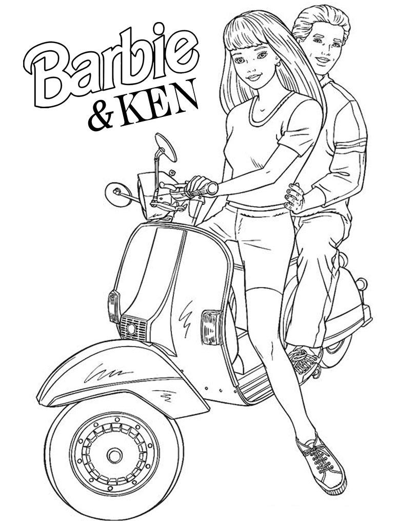 Barbie i Ken na motorze - kolorowanka dla dziewczynek