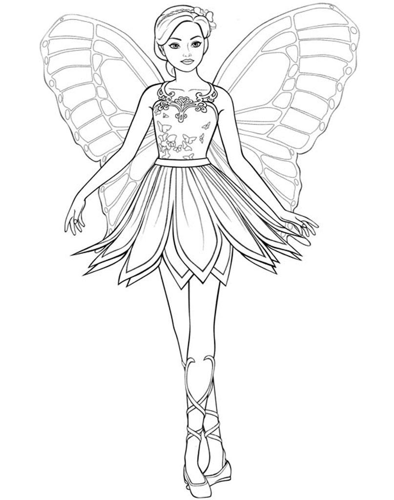 Barbie motyl kolorowanka do pobrania
