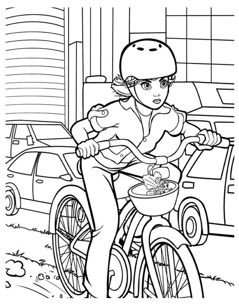 Barbie na rowerze kolorowanka do druku
