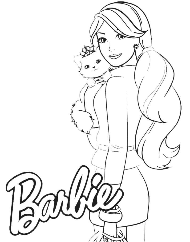 Barbie z kotem darmowa kolorowanka dla dzieci