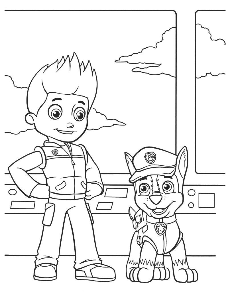 Chase i Ryder oryginalna kolorowanka Psi Patrol do pobrania za darmo