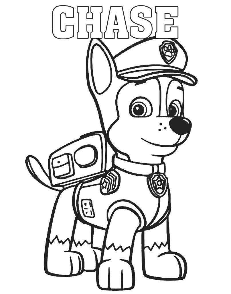 Chase kolorowanka z bajki Psi patrol do druku