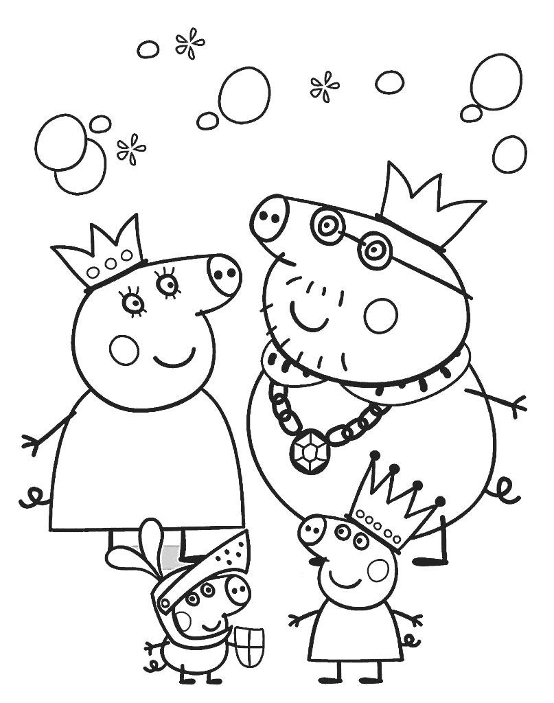 Darmowa kolorowanka Świnka Peppa wraz z rodziną