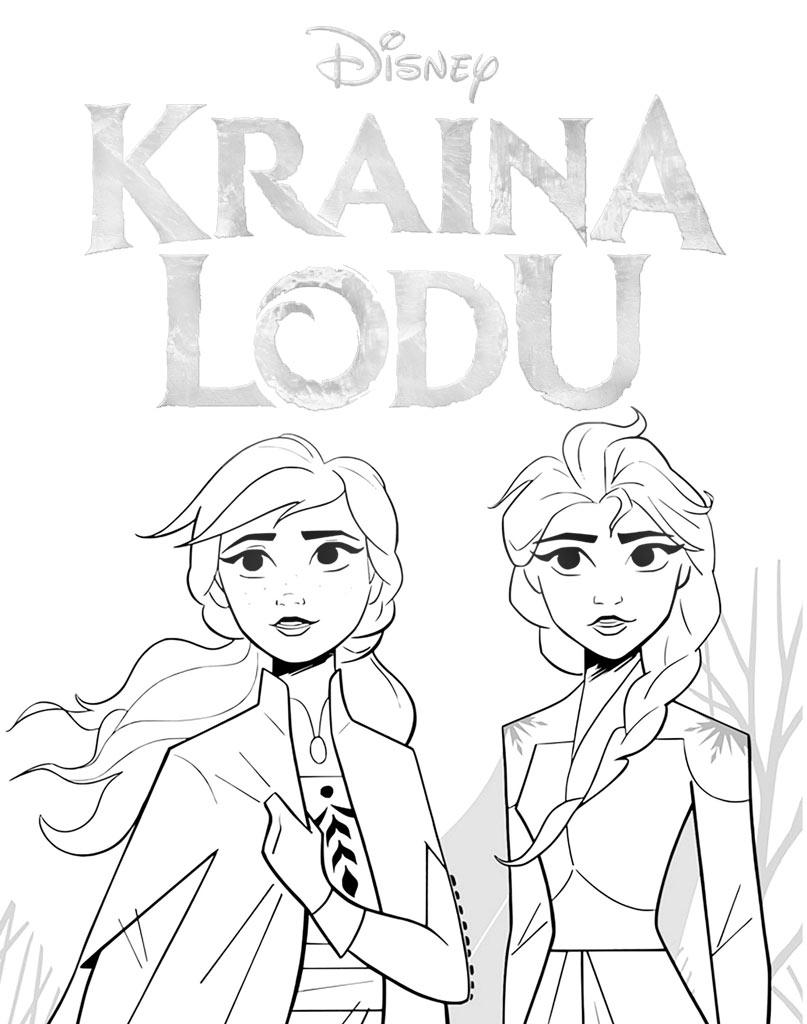 Elsa i Anna kolorowanka dla dzieci z logo Kraina Lodu do druku