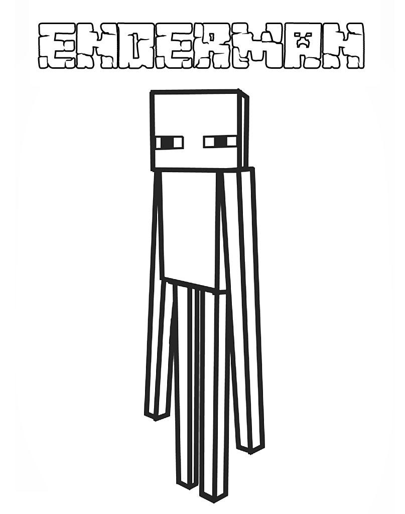 Enderman kolorowanka dla chłopców jako obrazek z gry Minecraft