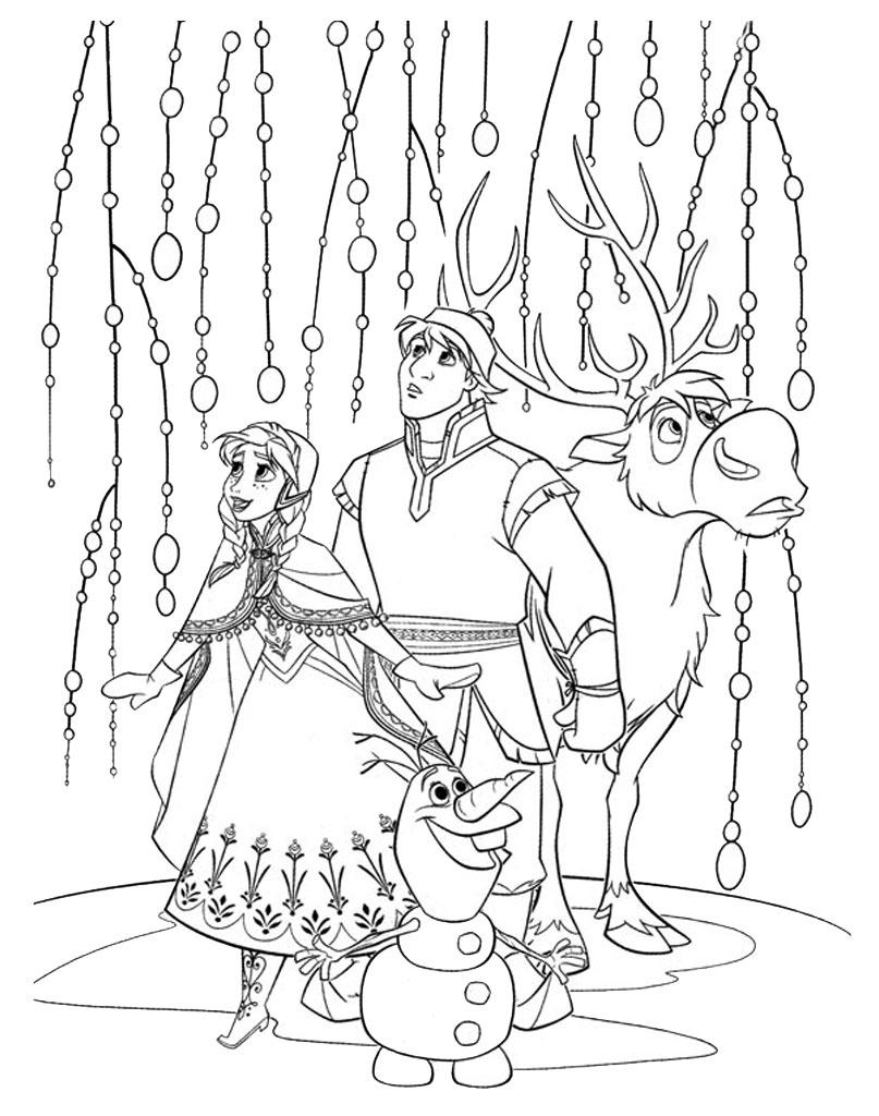 Frozen kolorowanka z bohaterami bajki do druku