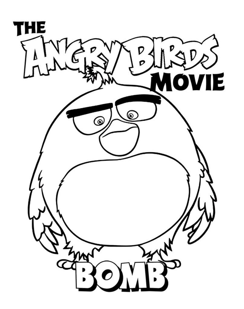 Kolorowanka do druku Angry Birds z ptakiem bombą