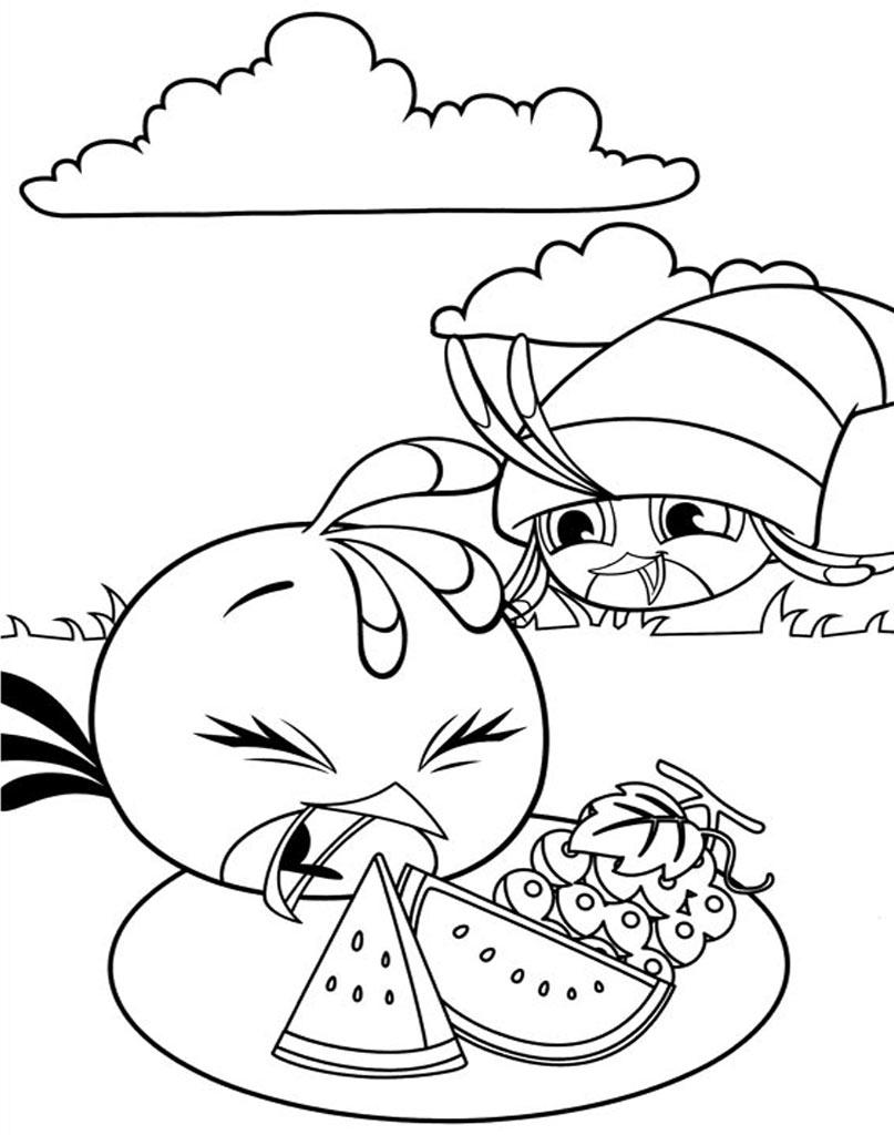 Kolorowanka Angry Birds Stella i owoce