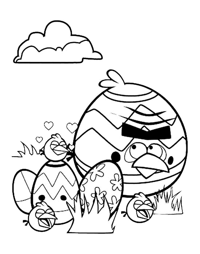 Kolorowanka Angry Birds Wielkanoc