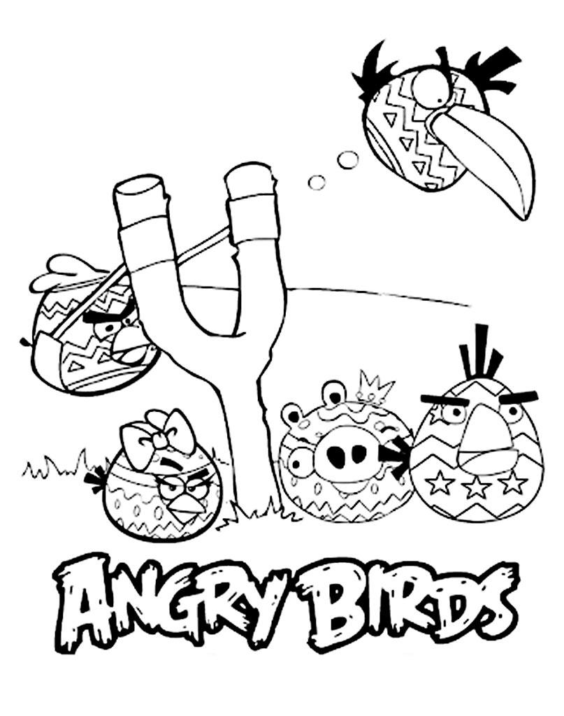Kolorowanka Angry Birds z procą i ptakami