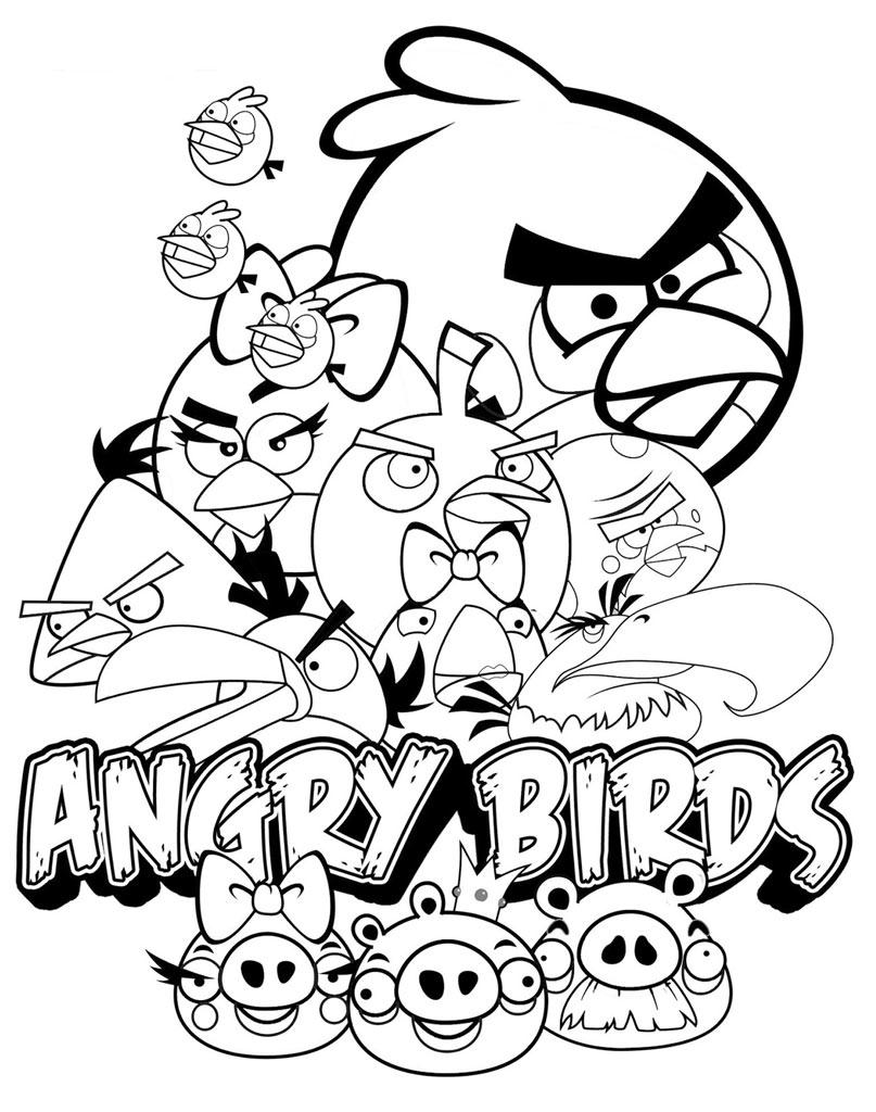 Kolorowanka Angry Birds z bohaterami bajki
