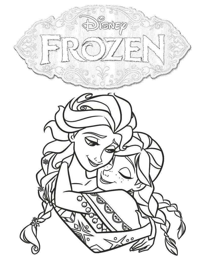 Kolorowanka Anna i Elsa w objęciach do druku