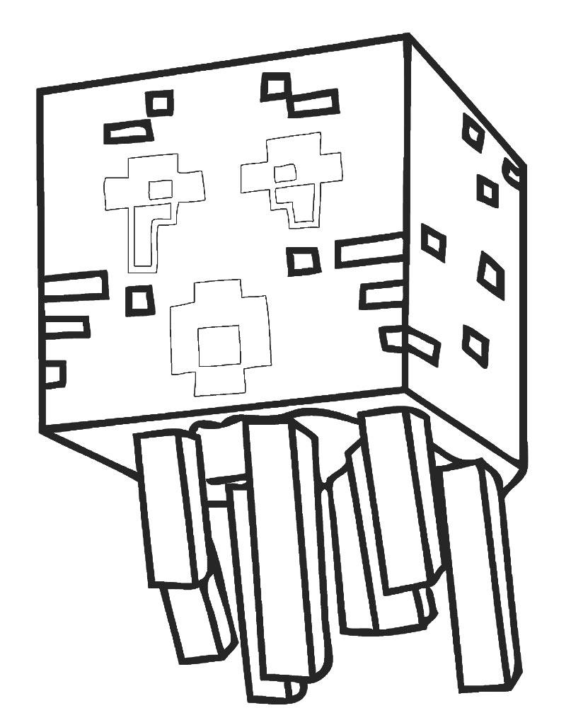 Kolorowanka Ghast, czyli mob - duch z Minecraft do druku