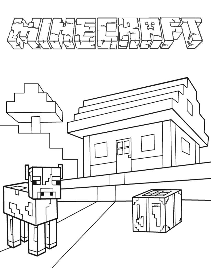 Kolorowanka Minecraft krowa i domek