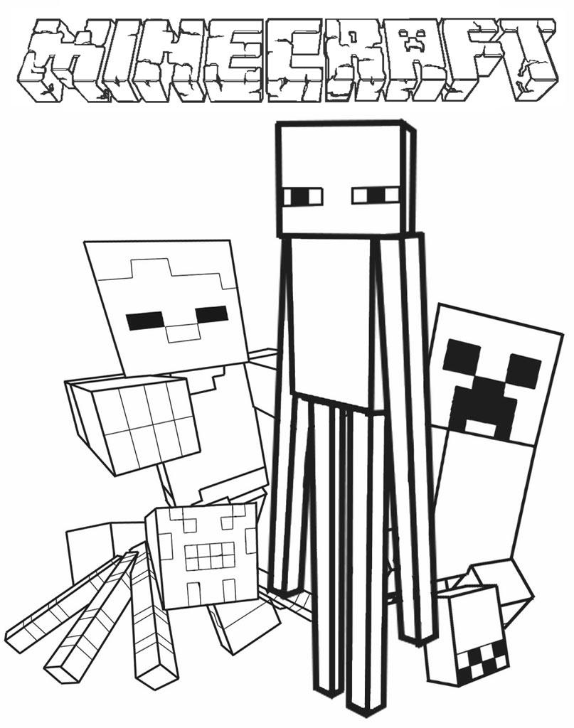 Kolorowanka Minecraft z obrazkami bohaterów gry