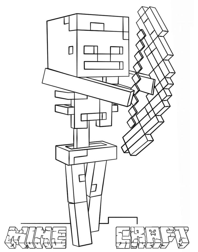 Kolorowanka Minecraft mob z łukiem do wydruku