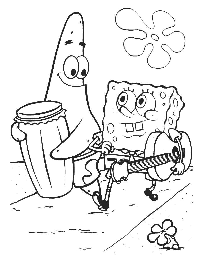 Kolorowanka Patryk Rozgwiazda i SpongeBob Kanciastoporty