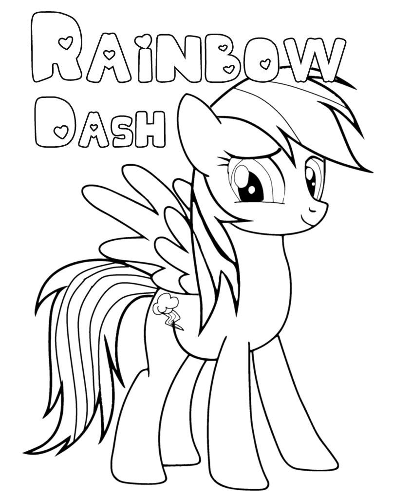 Kolorowanka Rainbow Dash z kucykiem My Little Pony