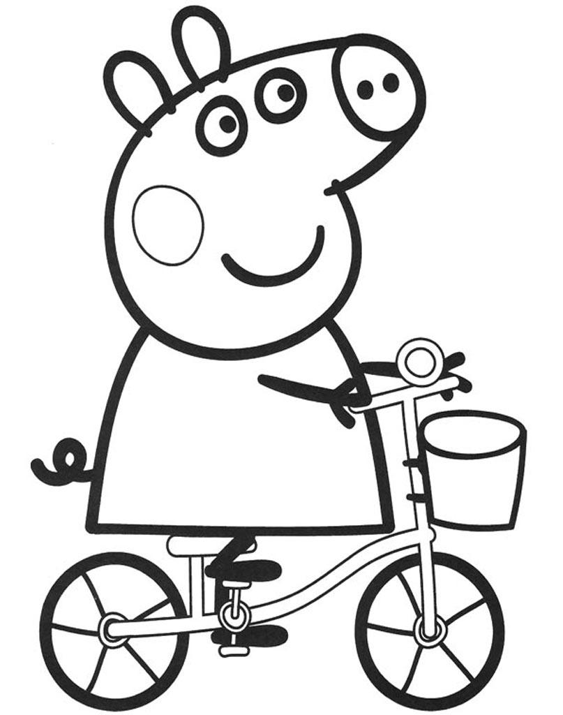 Świnka Peppa na rowerku kolorowanka dla dzieci