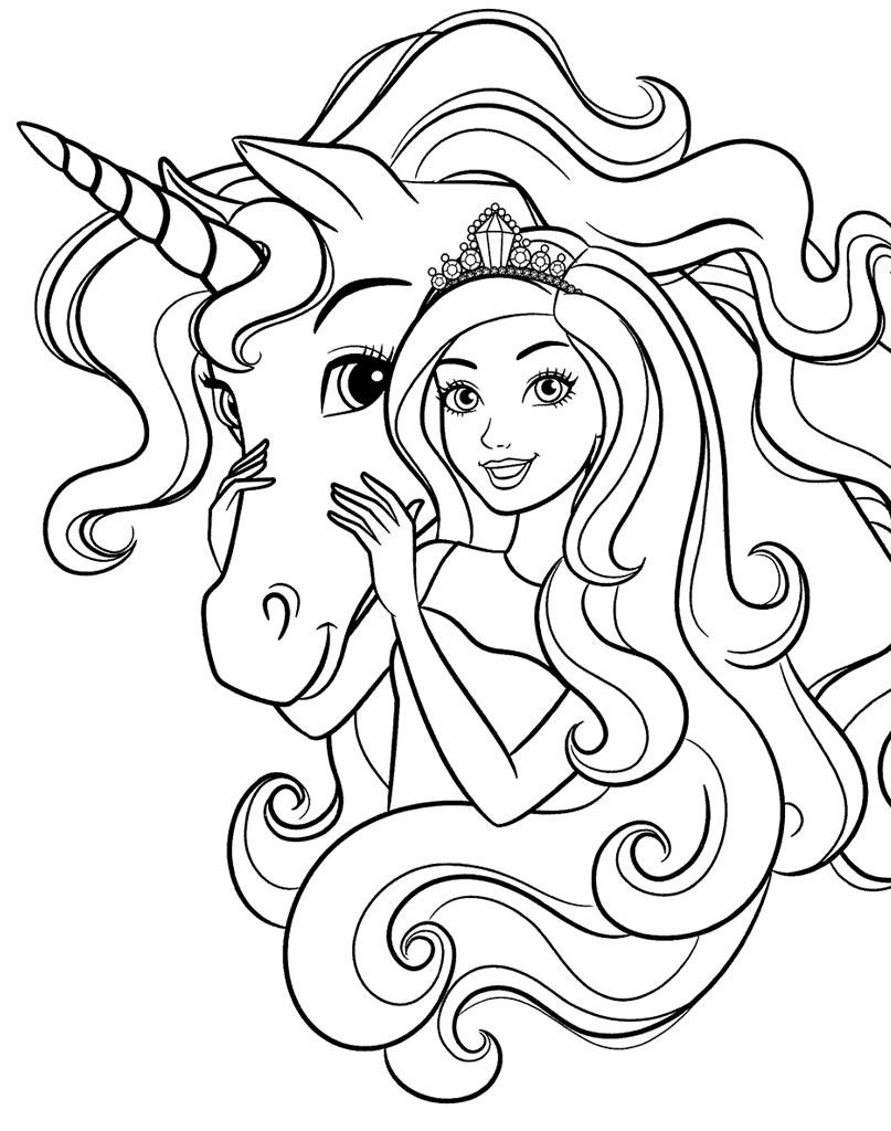 Kolorowanka Unicorn i Barbie