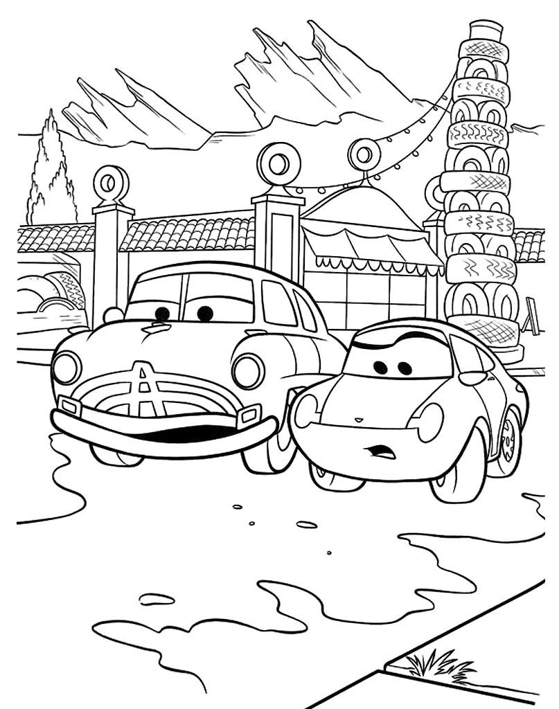 Kolorowanka dla dzieci Cars z bohaterami filmu