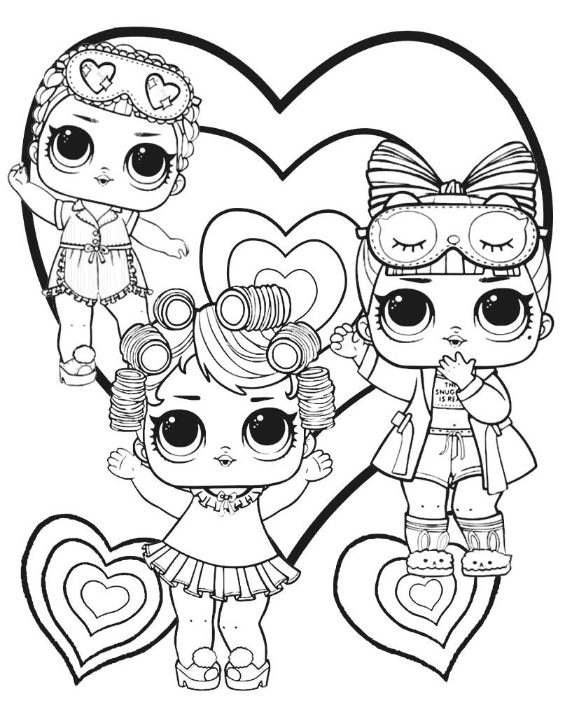Kolorowanka dla dziewczynek z trzema laleczkami L.O.L Suprise