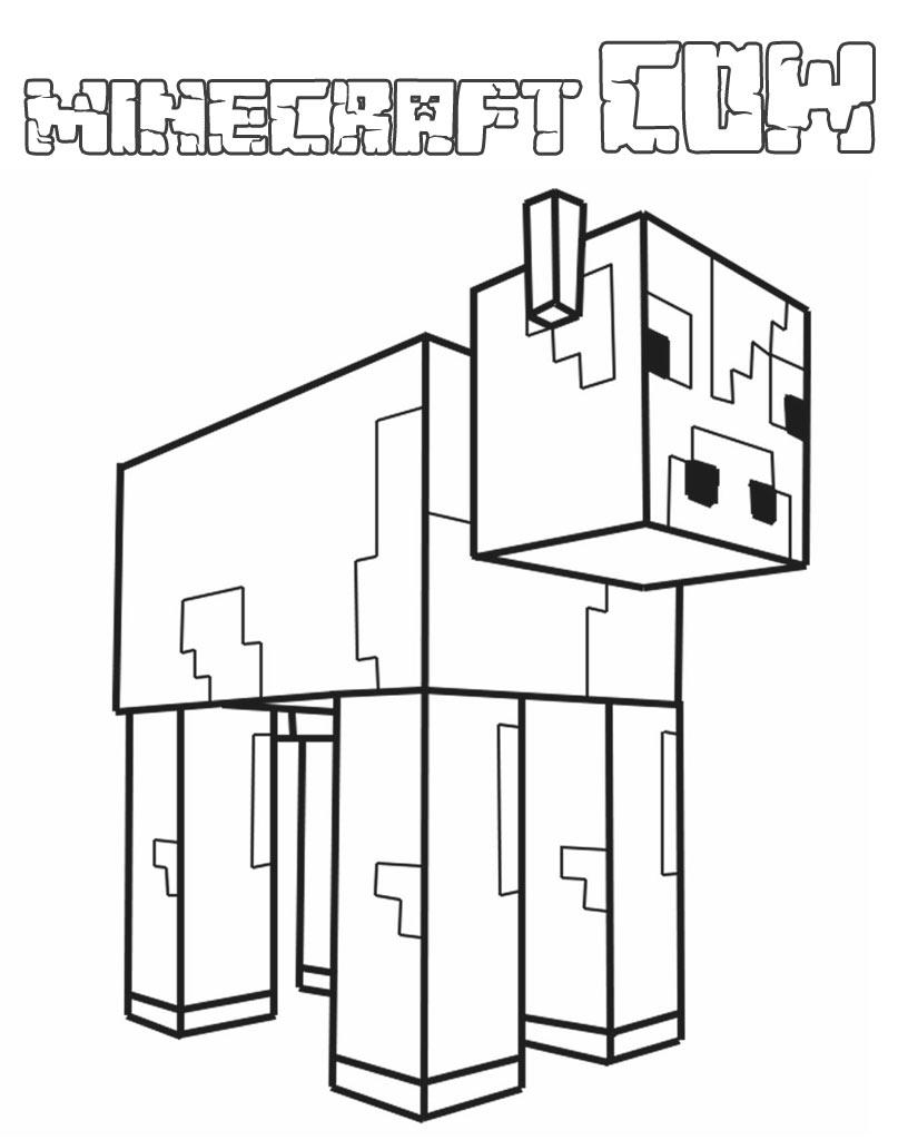 Kolorowanka krowa z gry wideo Minecraft