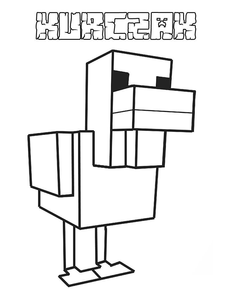 Kolorowanka kurczak z Minecrafta do wydrukowania