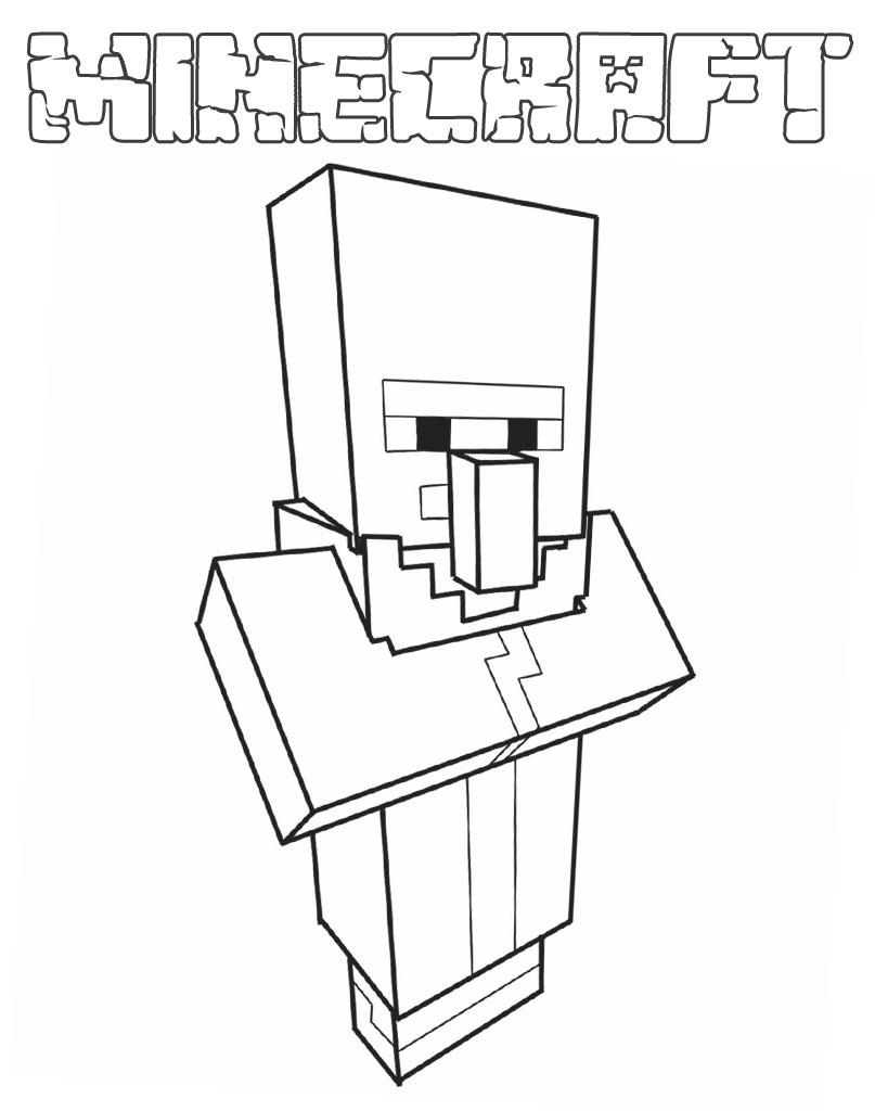 Kolorowanka osadnik z Minecraft do druku