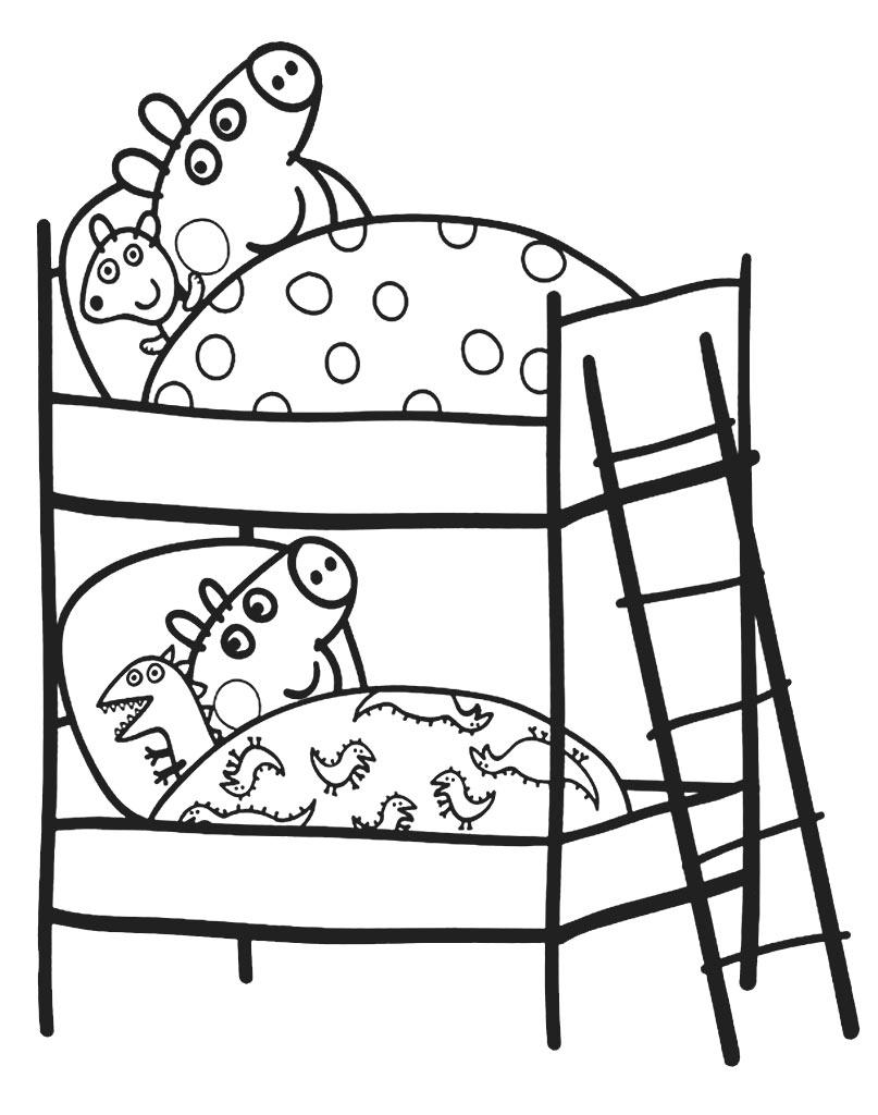 Kolorowanka świnka Peppa i George w łóżku