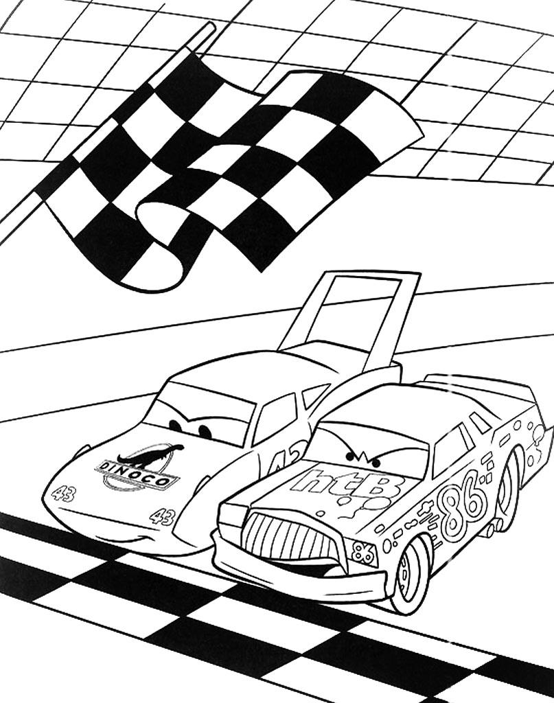 Kolorowanka wyścig z filmu Cars
