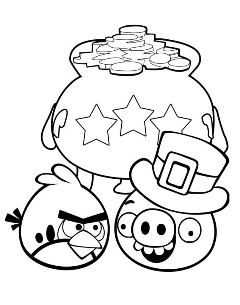 Kolorowanka z bajki Angry Birds do malowania