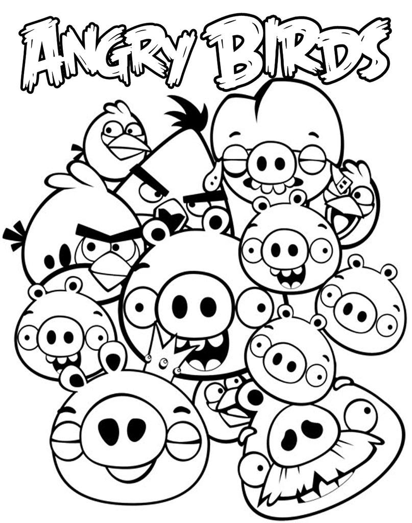 Kolorowanka z bohaterami bajki Angry Birds do wydruku