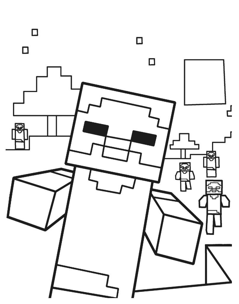 Kolorowanka z gry Minecraft dla dzieci do darmowego wydruku