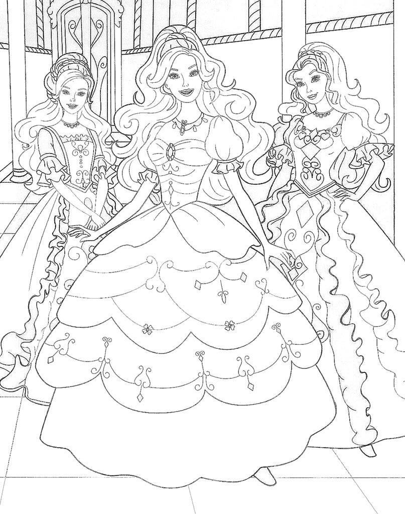 Kolorowanka z księżniczkami Barbie
