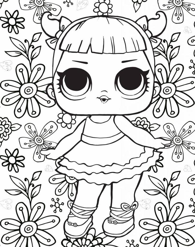 Kolorowanka z laleczką Lol Suprise z kwiatkami w tle