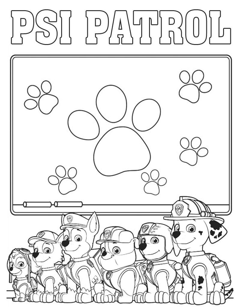 Kolorowanka z napisem Psi Patrol dla chłopców