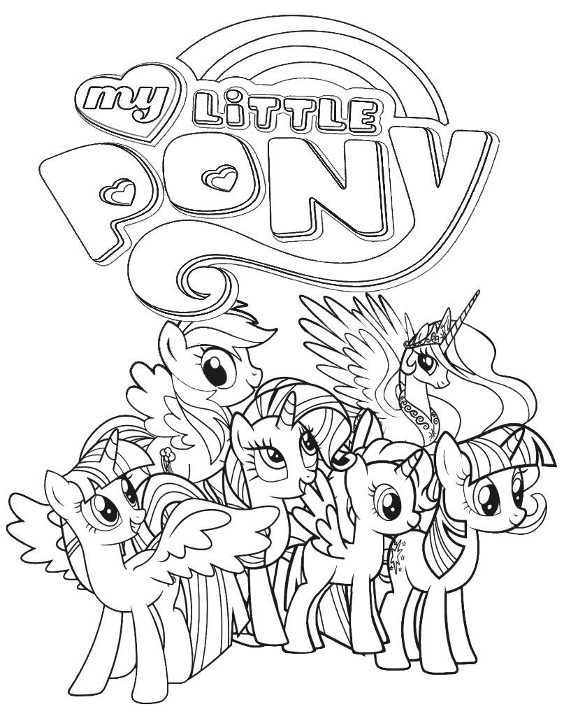 Koniki Pony kolorowanka z kucykami do druku