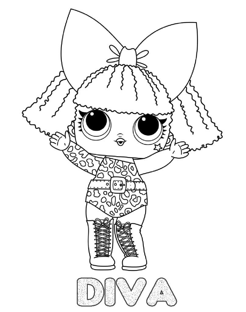 Lol Suprise kolorowanka z laleczką Diva do wydruku