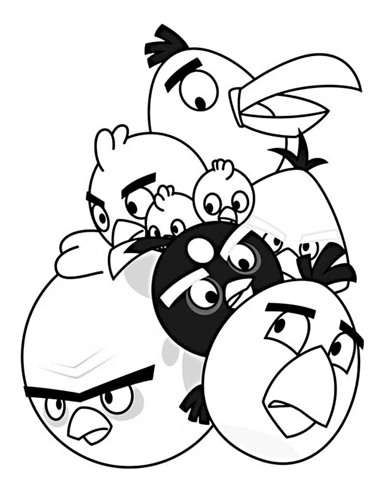 Malowanka Angry Birds z ptakami