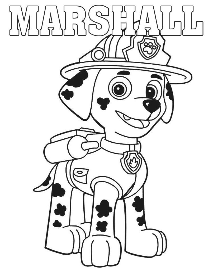 Marshall kolorowanka z bajki Psi Patrol