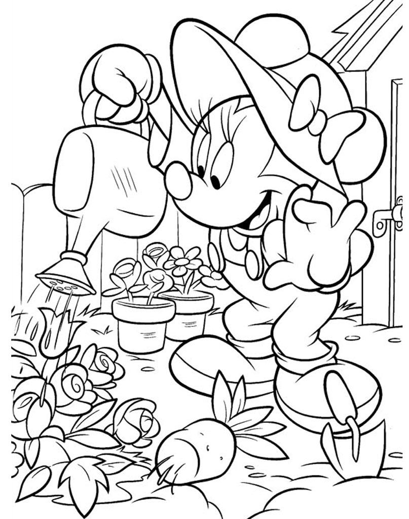 Minnie podlewa kwiatki w ogródku kolorowanka