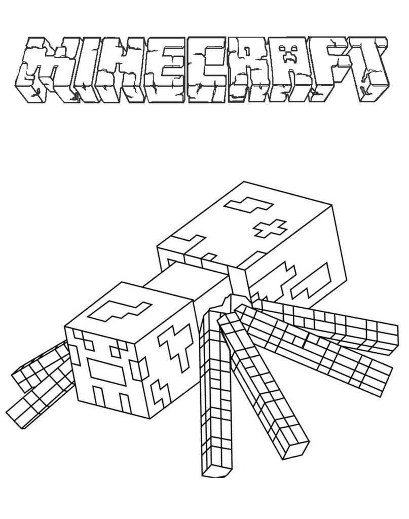 Pająk Minecraft kolorowanka do druku