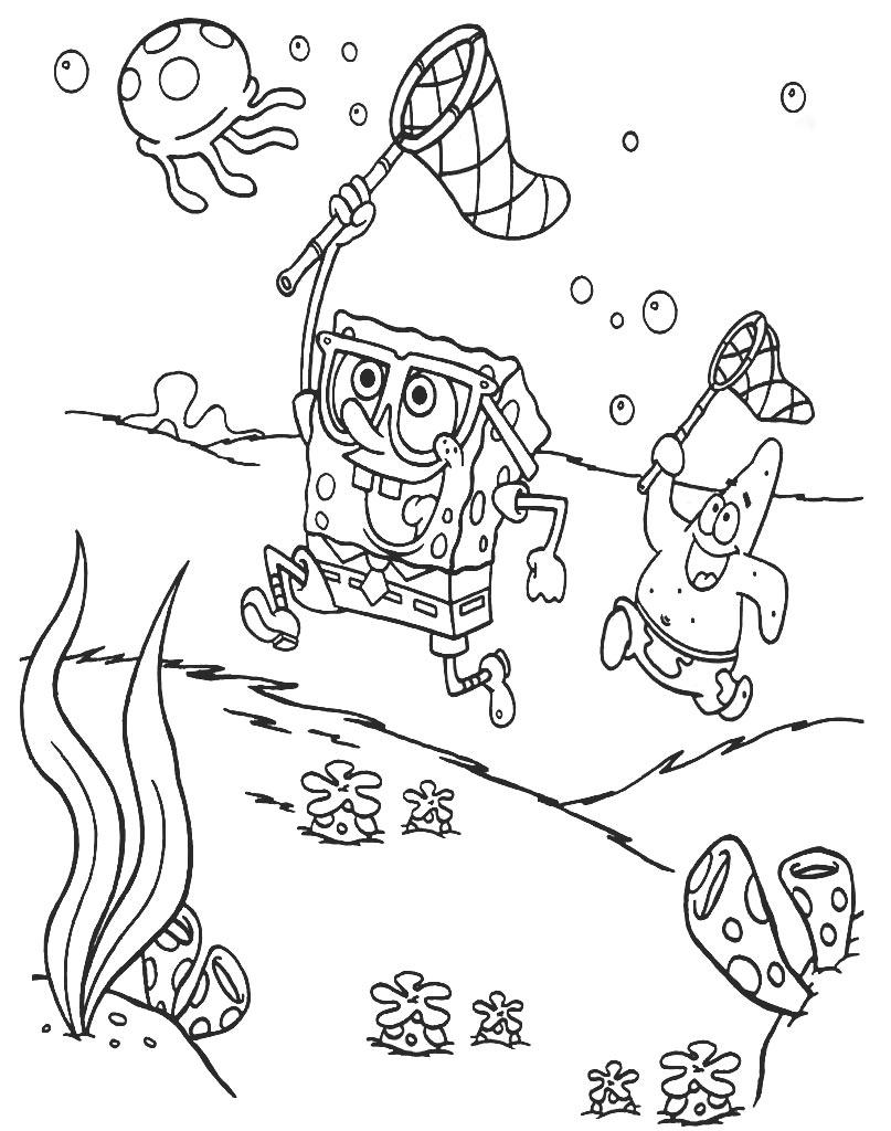 Patryk i SpongeBob polują na meduzy darmowa kolorowanka dla dzieci