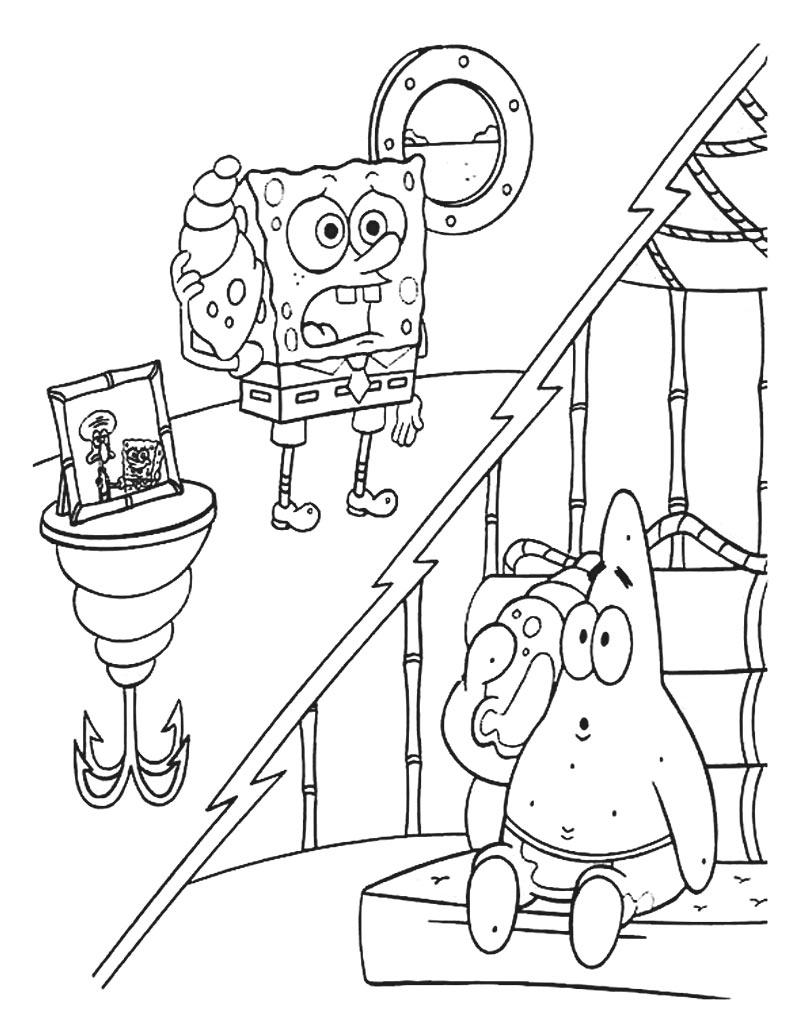 Patryk i SpongeBob rozmawiają przez telefon - kolorowanka za darmo