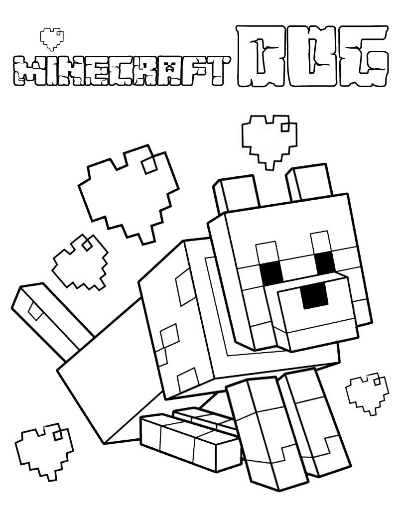 Pies Minecraft kolorowanka do druku z gry dla chłopców i dziewczynek