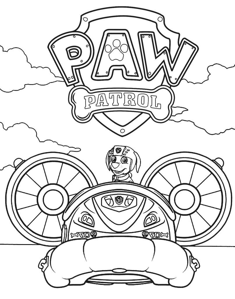 Piesek kolorowanka z Psiego Patrolu za sterami samochodu